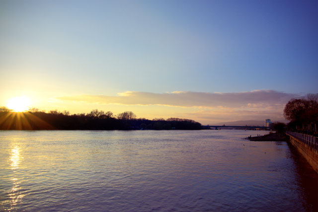 Sonnenuntergang am Rhein bei Mainz